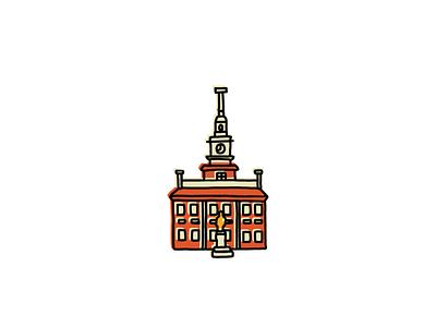 Independence Hall Icon landmarks icons design icon sketch branding logo illustration hand-drawn vector