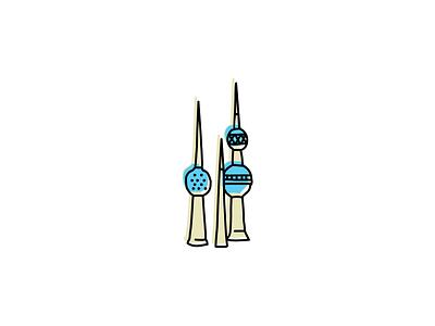 Kuwait Towers sketch illustration buildings landmark icon hand-drawn vector