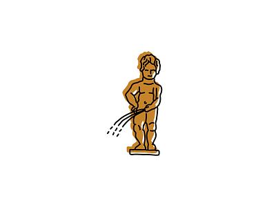Mannekin Pis, Brussels icon humorous illustration statue germany humor logo illustration hand-drawn vector