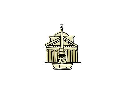 Pantheon, Rome landmarks icons design icon branding sketch logo illustration hand-drawn vector