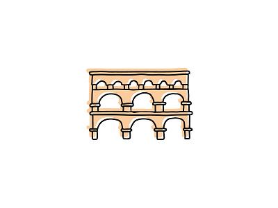 Pont du Gard architecture landmarks icon branding sketch logo illustration hand-drawn vector