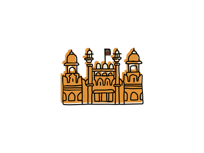 Red Fort Complex, India landmarks icons design icon branding sketch logo illustration hand-drawn vector