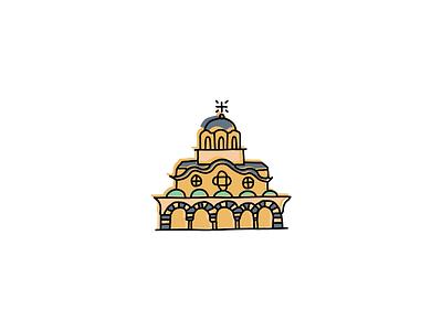 Rila Monastery, Bulgaria typography icons design icon branding sketch logo illustration hand-drawn vector