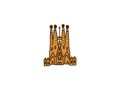 Sagrada Familia landmarks icons design icon branding sketch logo illustration hand-drawn vector