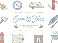 Camp & Trail Vector Recreation Icons