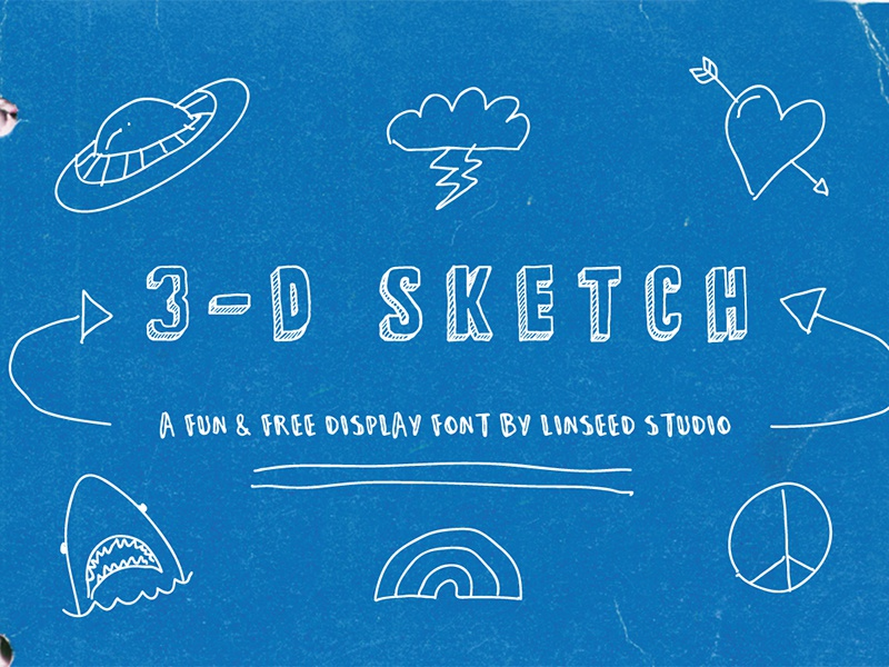 3-D Sketch Free Display Font display font free font typeface glyphs hand-drawn sketch typography freebie font