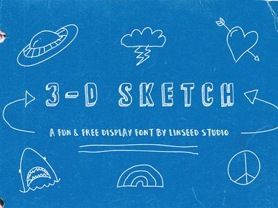 3-D Sketch Free Display Font