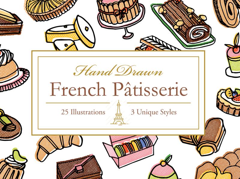Hand Drawn French Patisserie food design icon sketch logo branding illustration vector hand-drawn