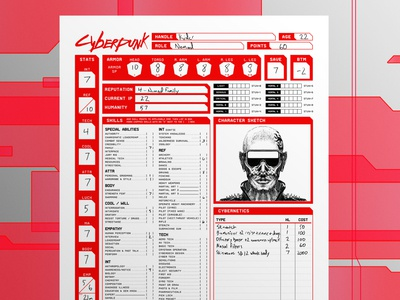 Cyberpunk Character Sheet