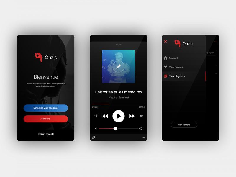Onzic Music - Application Mobile music app music application ui design logo branding brand design mobile ui ux app