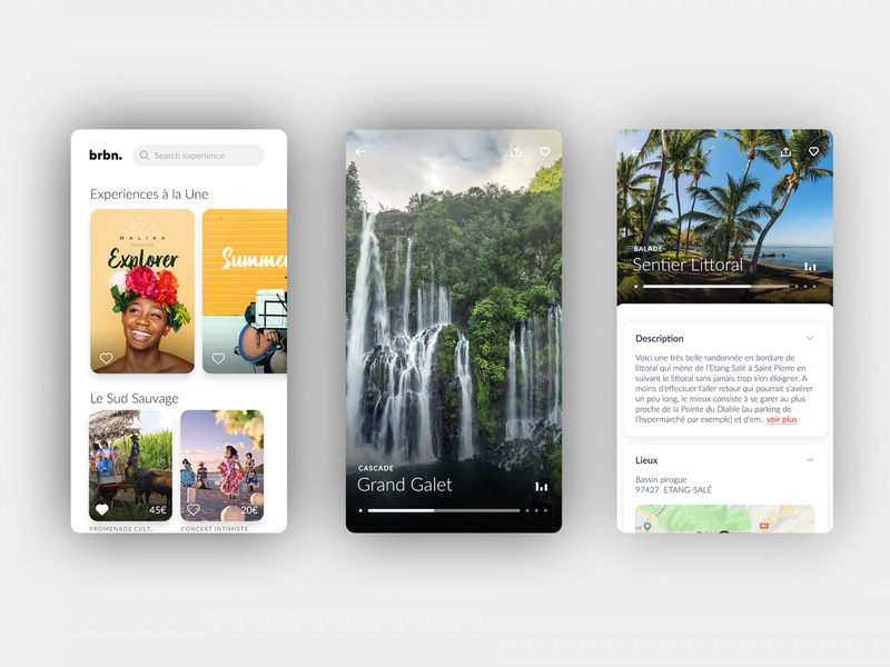Brbn. Travel Guide - Application Mobile branding reunion island adobe xd guide travel presentation mobile design app ui ux