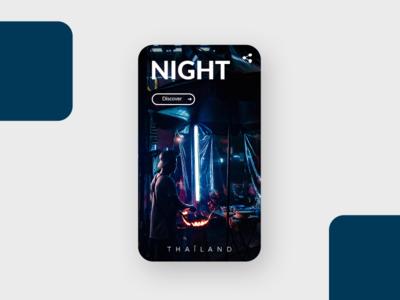 [Daily Ui] Travel Night - Thaïland discover blue ui presentation night unsplash design travel app mobile ui ux
