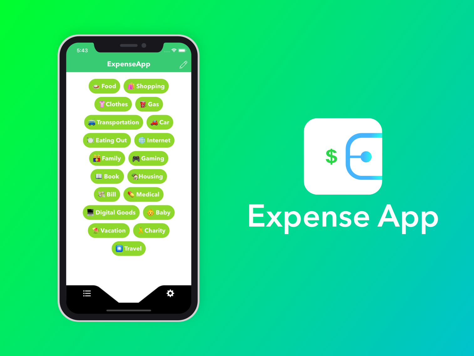 Expense App flat ios financial app