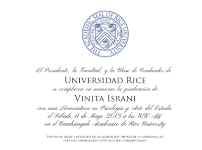 Rice Graduation Invitation
