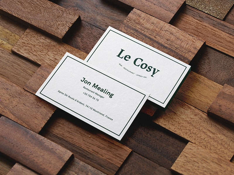 Le Cosy Bar business cards menu identity corporate identity branding restaurant branding restaurant identity graphic graphic design