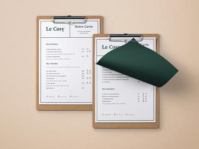 Le Cosy Bar branding restaurant branding identity corporate identity graphic design menu menu design graphic
