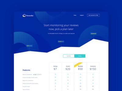 Reviewbot Pricing Page landing page mobile app ux design dashboard layout design web app user interface design