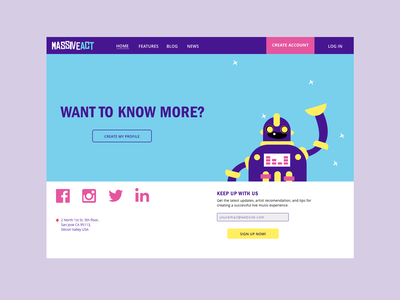 Massive Act Marketing Page cute robot music design illustration landing page marketing page