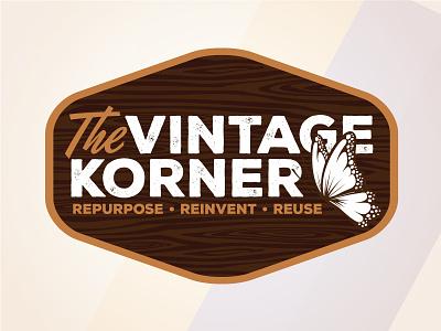 The Vintage Korner butterfly branding korner vintage logo