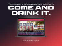 Texas State of Mind Coffee Company wordpress adobe portfolio web graphic