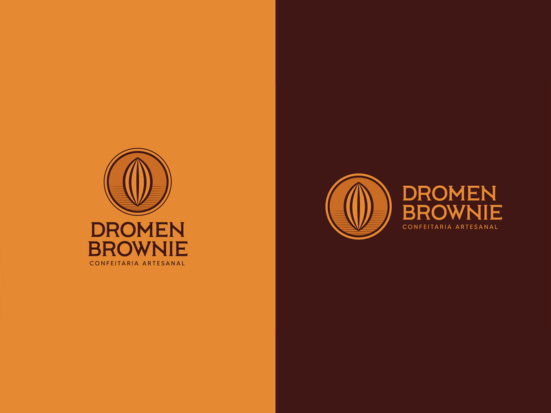 Dromen Brownie cake chocolate brown emblem classic logo brownie logo cocoa