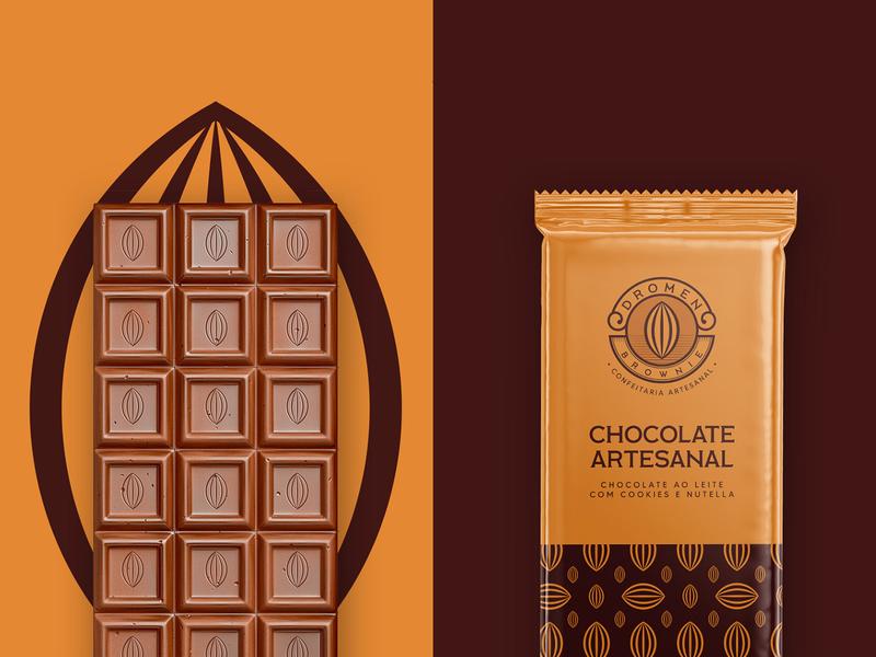 Dromen Brownie - Chocolate Packaging chocolate bar chocolate packaging cake chocolate brown emblem classic logo brownie logo cocoa