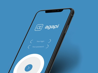 Agapi - Login Screen social media app screens technology blue brand logo