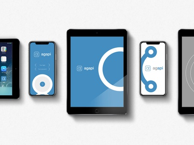 Agapi - MultiScreen social media app screens technology blue brand logo
