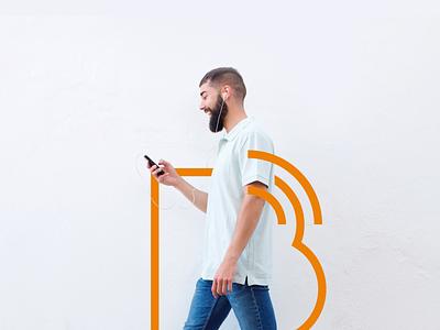 Bibotalk - Outline Logo mobile tshirt orange balloon b feed talk podcast logo clean logo