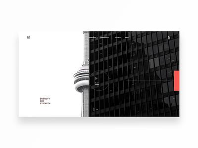 Landing Page: Toronto figma website concept explore website design black white red simple cn tower goverment toronto design app landing page rebound website ui minimal digital ux design