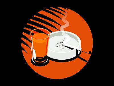 Quick Isometric Illustration mood cigarette whiskey illustration isometric illustration isometric