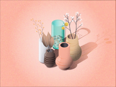 Spring Objets - Vase, flowers subtle animation spring color color vase vases spring after effects illustrator isometric illusration