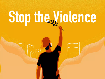 Stop Violence protest peace violence motiongraphic illustration
