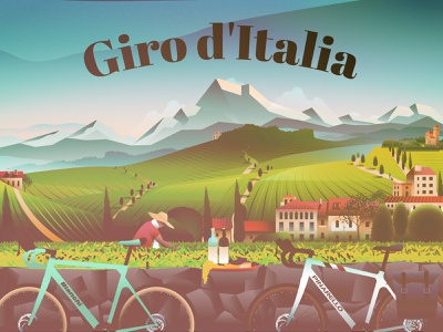Tour of Italy - wine, cycling travel tour cycling scenery winery italy italia illustration