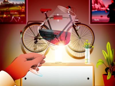 A glass of wine, classic bike hanging on the wall colorful colors reflection mood wine glass interior bike cycle wine illustration