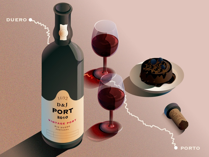 Port Wine grain dessert portugal wine portwine illustration isometric