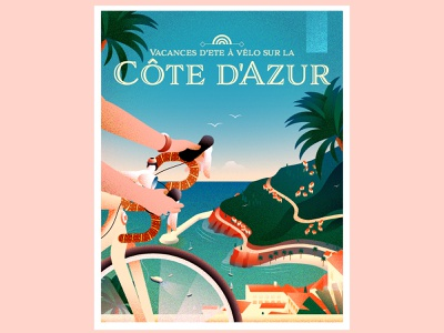 Summer Cycling Vacation on the Côte d'Azur french riviera cycling travel vacation illustration