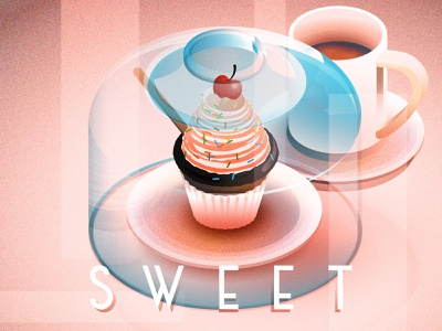 Friday Quick Sweet Illustration sweet coffee chocolate cake dessert cupcake isometric illustration