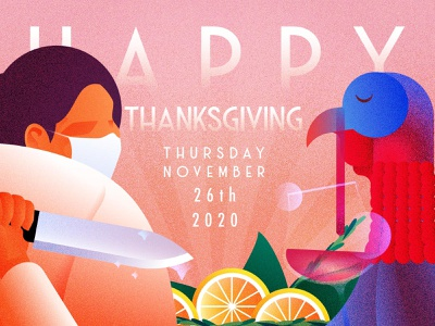 Happy Thanksgiving wear a mask grain artdeco turkey thanksgiving illustration