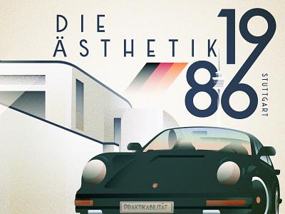 1986 Stuttgart exercising germany retro modern design porsche german car illustration