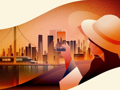 Arrived at evening evening arrival unused concept sketching art deco cityscape illustration