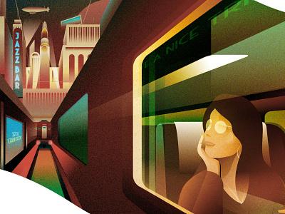 Train Travel - Last unused sketching dusk excitement traveling train cityscape artdeco illustration