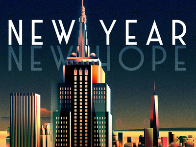 New Year, New Hope city buildings new year new york illustration