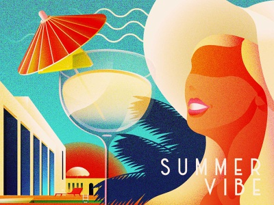 2021 Summer Vibe vintage woman cocktail vacation resort artdeco summer illustration