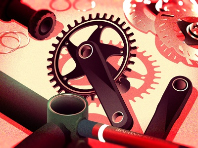 Bicycle parts - crank, BB, brake rotors adventure bike bike parts bicycle isometric illustration illustration
