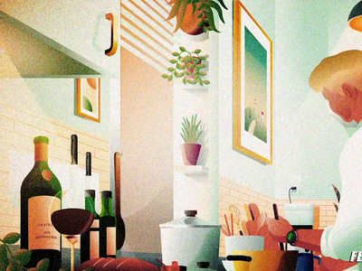 Illustration and animation for Lo-Fi beats interior loop animation kitchen cook bright kitchen vibe lo-fi cooking animation illustration