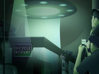 Bicycle Abduction illustrations alien ufo covid19 mysterious bicycle cycling animation illustration