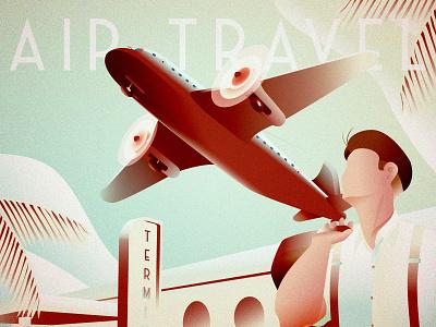 Vintage Air Travel airplane travel 1930s 1920s art deco c4d illustration