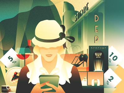 SWALLY Illustration Project - (2) mobile shopping store 1930s gradient shopping art deco illustration swally