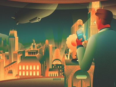 SWALLY Illustration Project - (3) contrast saas nightcity cityscape 1930s art deco illustration